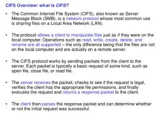 CIFS Overview: wh at is CIFS?