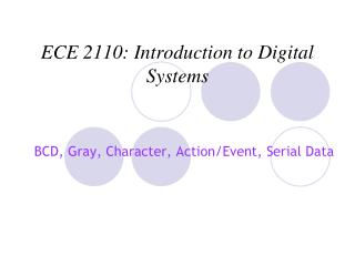 ECE 2110: Introduction to Digital Systems