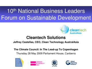 10 th  National Business Leaders Forum on Sustainable Development
