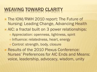 Weaving toward clarity