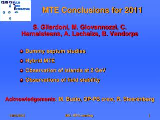 MTE Conclusions for 2011
