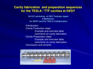 Cavity fabrication  and preparation sequences  for the TESLA / TTF cavities at DESY