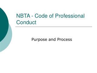 NBTA - Code of Professional Conduct