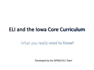 ELI and the Iowa Core Curriculum
