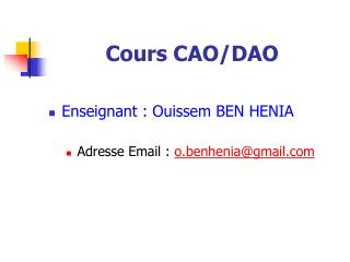Cours CAO/DAO
