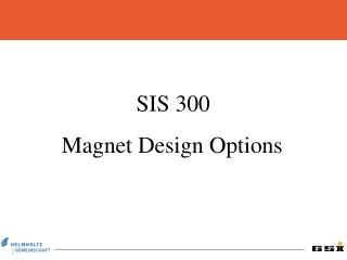 SIS 300 Magnet Design Options