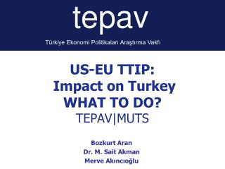 US-EU TTIP:   Impact on Turkey   WHAT TO DO? TEPAV|MUTS