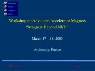 "Workshop on Advanced Accelerator Magnets ""Magnets Beyond NbTi"" March 17 – 18, 2003"