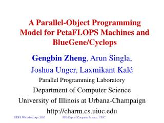 A Parallel-Object Programming Model for PetaFLOPS Machines and BlueGene/Cyclops