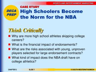 CASE STUDY High Schoolers Become the Norm for the NBA