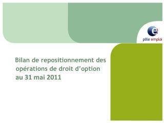 Bilan de repositionnement des opérations de droit d'option     au 31 mai 2011