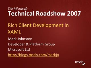 Rich Client Development in XAML