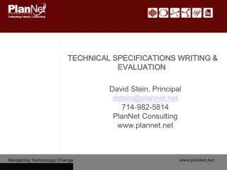 TECHNICAL SPECIFICATIONS WRITING & EVALUATION
