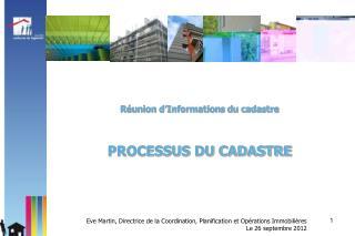 Réunion d'Informations du cadastre PROCESSUS DU CADASTRE