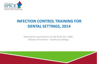 Infection Control Training for     dental Settings, 2014