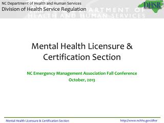 Mental Health Licensure & Certification Section