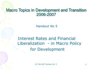 Macro Topics in Development and Transition 2006-2007
