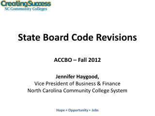 State Board Code Revisions ACCBO – Fall 2012