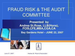 FRAUD RISK  THE AUDIT COMMITTEE
