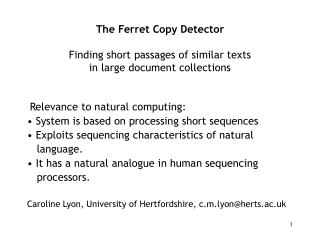 The Ferret Copy Detector Finding short passages of similar texts  in large document collections