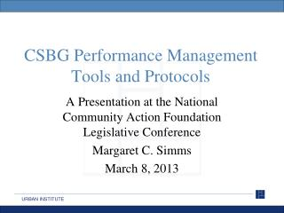 CSBG Performance Management Tools and Protocols