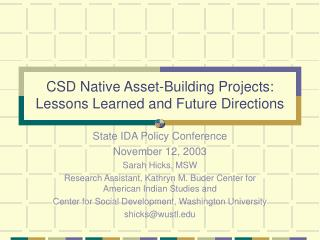 CSD Native Asset-Building Projects: Lessons Learned and Future Directions