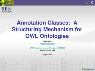 Annotation Classes:  A Structuring Mechanism for OWL Ontologies