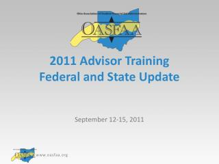 2011 Advisor Training Federal and State Update