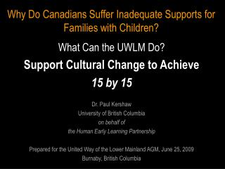 Why Do Canadians Suffer Inadequate Supports for Families with Children?
