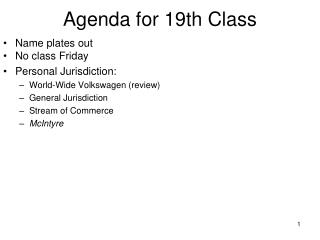 Agenda for 19th Class