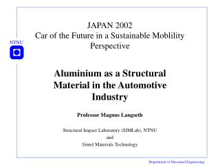 JAPAN 2002 Car of the Future in a Sustainable Moblility Perspective