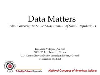 Data  Matters Tribal Sovereignty & the Measurement of Small Populations