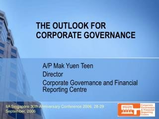 THE OUTLOOK FOR CORPORATE GOVERNANCE