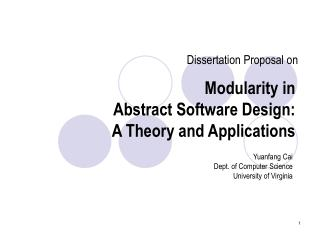 Modularity in  Abstract Software Design:  A Theory and Applications