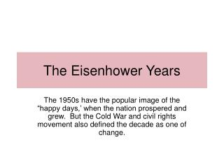 The Eisenhower Years