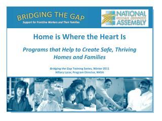 Bridging the Gap  Training Series, Winter 2011 Hillary Lazar, Program Director, NHSA