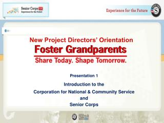 New Project Directors' Orientation