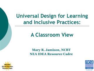 Mary R. Jamison, NCBT NEA IDEA Resource Cadre