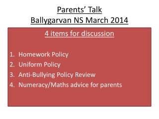 Parents' Talk Ballygarvan  NS March 2014