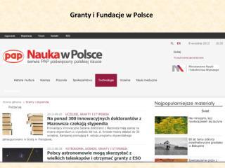 Granty i Fundacje w Polsce