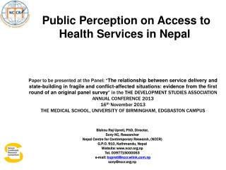 Public Perception on Access to Health Services in Nepal