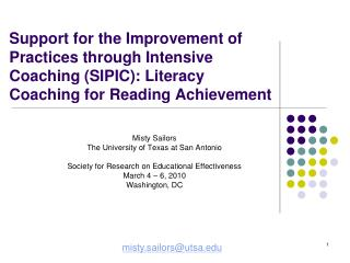 Support for the Improvement of Practices through Intensive Coaching SIPIC: Literacy Coaching for Reading Achievement