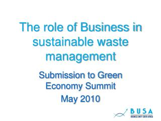 The role of Business in sustainable waste management
