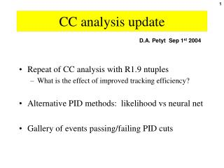 CC analysis update