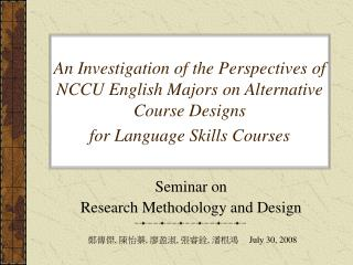 Seminar on  Research Methodology and Design
