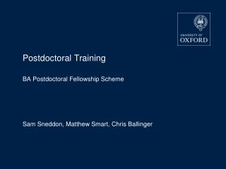 Postdoctoral Training