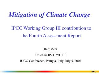 Mitigation of Climate Change