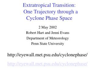 Extratropical Transition:   One Trajectory through a Cyclone Phase Space