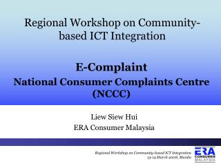 Regional Workshop on Community-based ICT Integration
