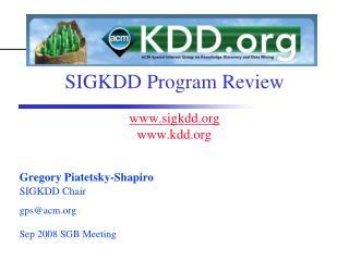 SIGKDD Program Review sigkdd kdd